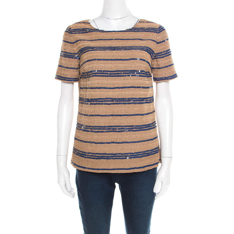 Tory Burch Beige Wooden Bead and Sequin Embellished Theresa Top S