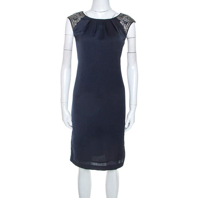 Tory Burch Navy Blue Embellished Satin Sleeveless Shift Dress M
