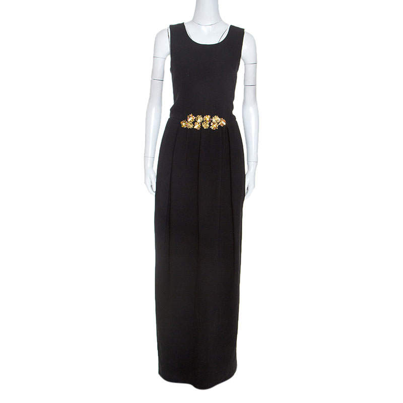 Tory Burch Black Embellished Crepe Criss Cross Back Sleeveless Gown S