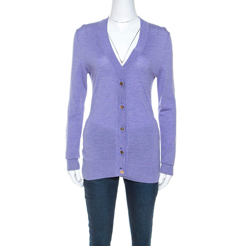 Tory Burch Lavender Purple Merino Wool Buttoned Cardigan S