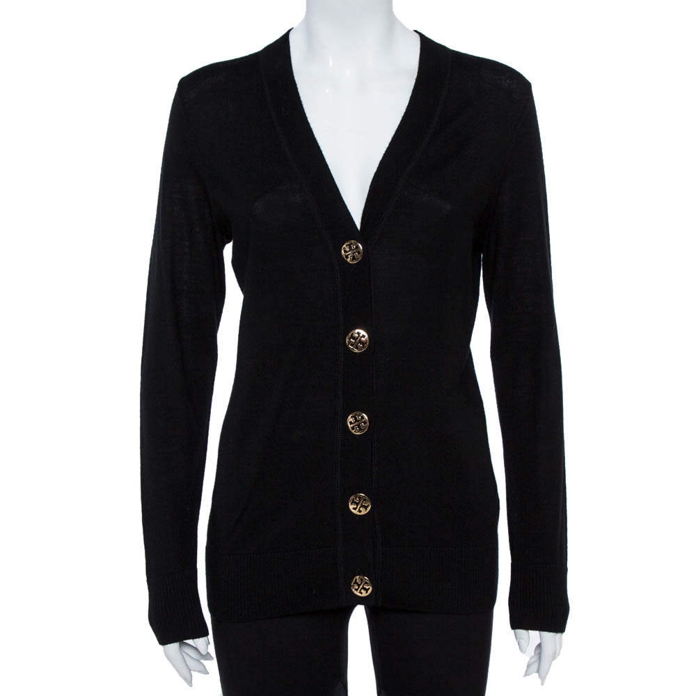 Tory Burch Black Merino Wool Simone Cardigan M