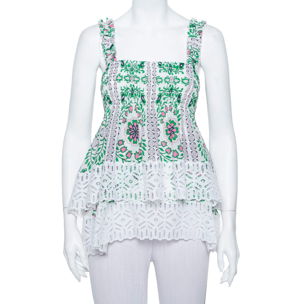 Tory Burch White Garden Party Printed Silk Smocked Tiered Top M