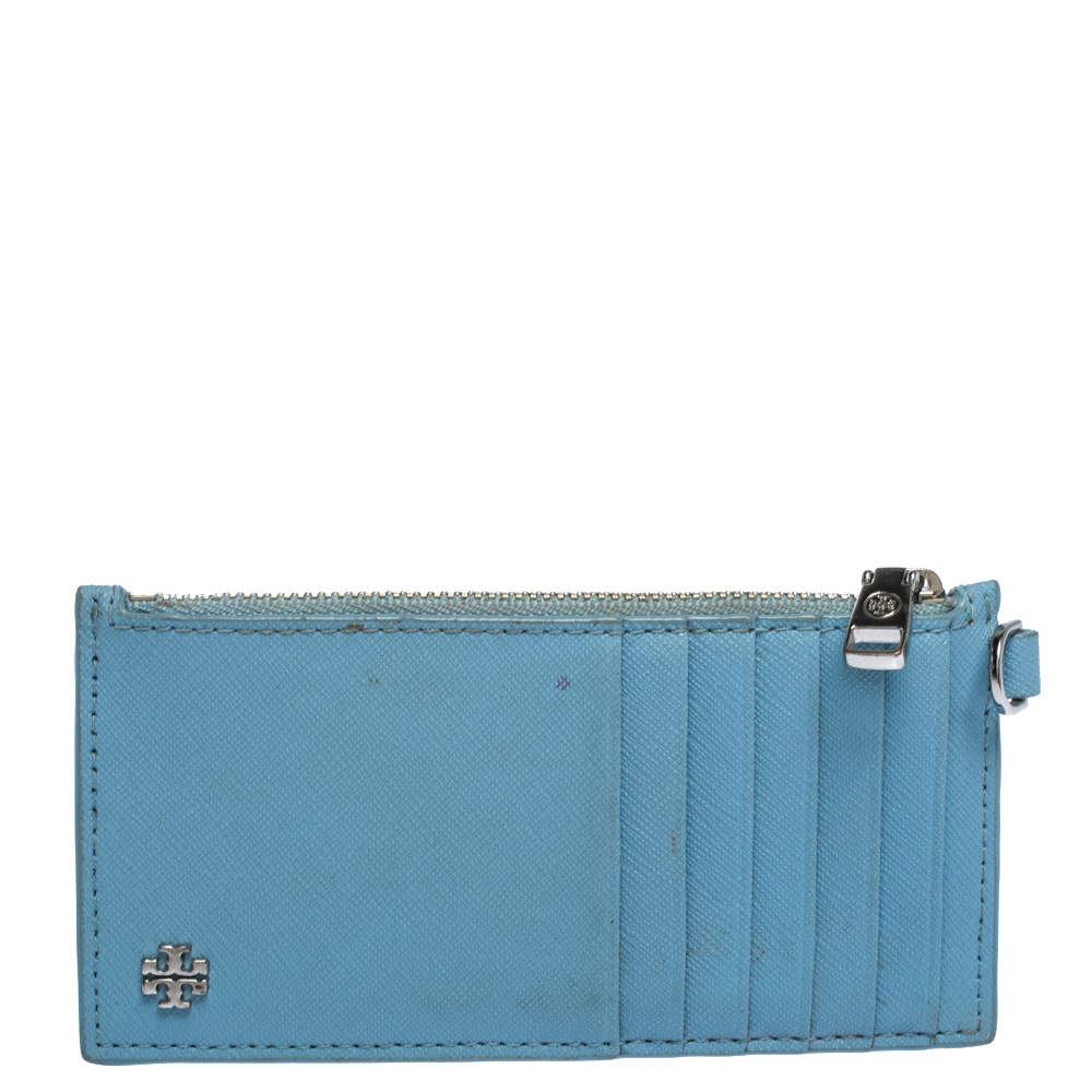 Tory Burch Light Blue Leather Top Zip Slim Card Holder