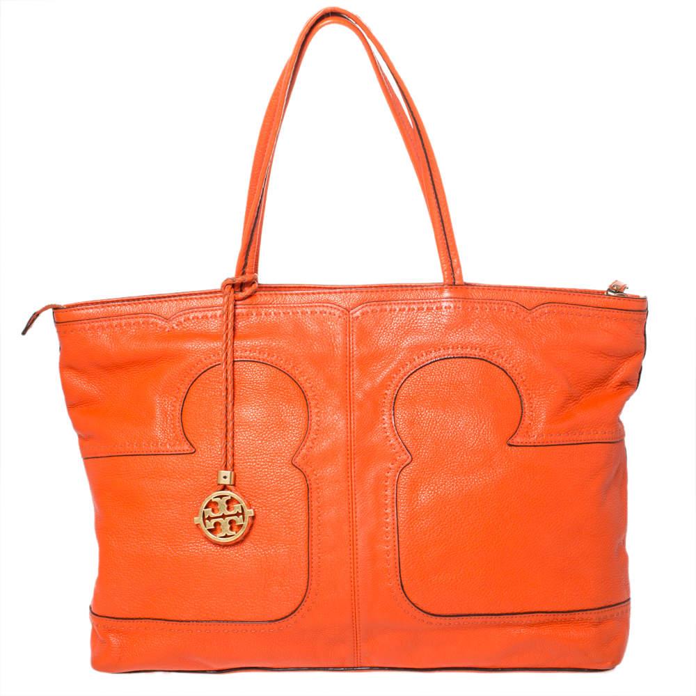 Tory Burch Orange Leather Shopper Tote