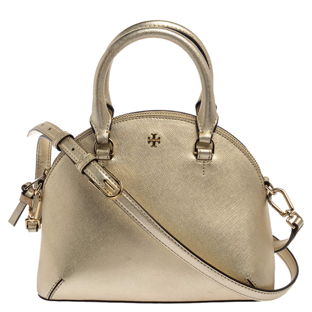 Tory Burch Gold Leather Mini Robinson Dome Satchel