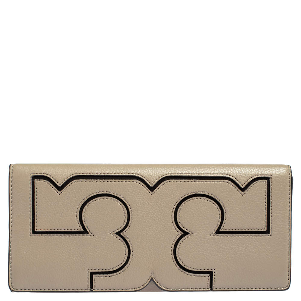 Tory Burch Grey Leather Large Flap Continental Wallet