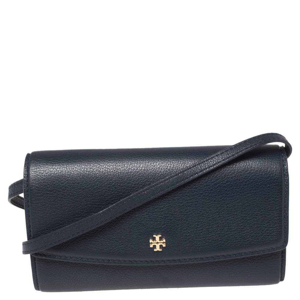 Tory Burch Navy Blue Leather Flap Shoulder Bag
