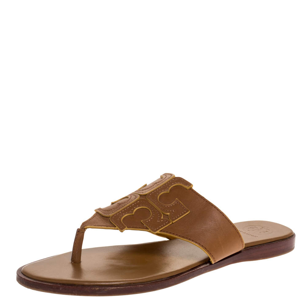Tory Burch Brown Leather Jamie Flat Thong Sandals Size 37