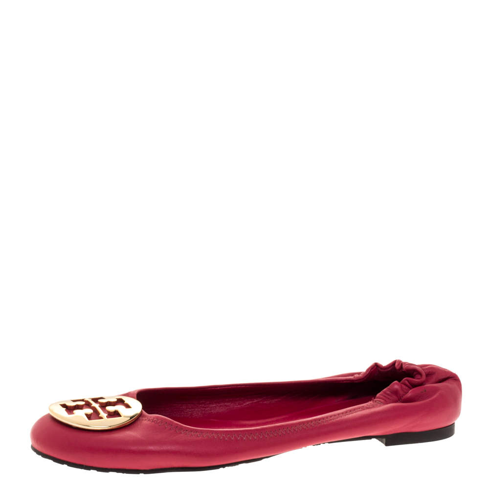 Tory Burch Pink Leather Scrunch Ballet Flats Size 40.5