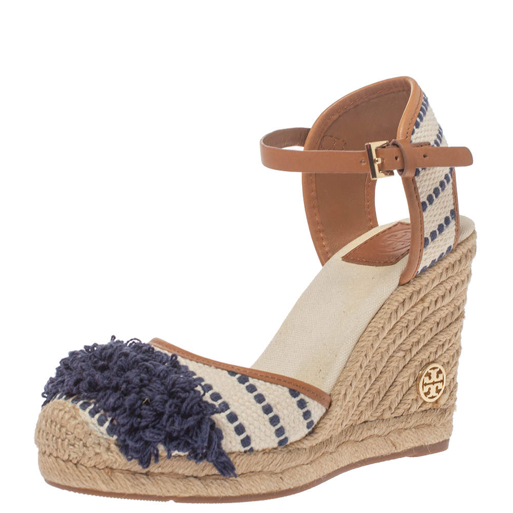 Tory Burch White/Blue Canvas And Leather Espadrille Wedge Platform Ankle Strap Sandals Size 36.5