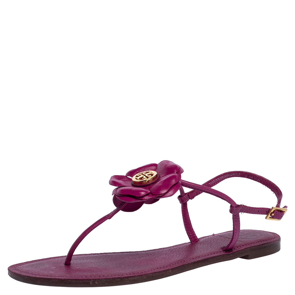 Tory Burch Pink Leather Flower T Strap Thong Flat Sandals Size 38.5
