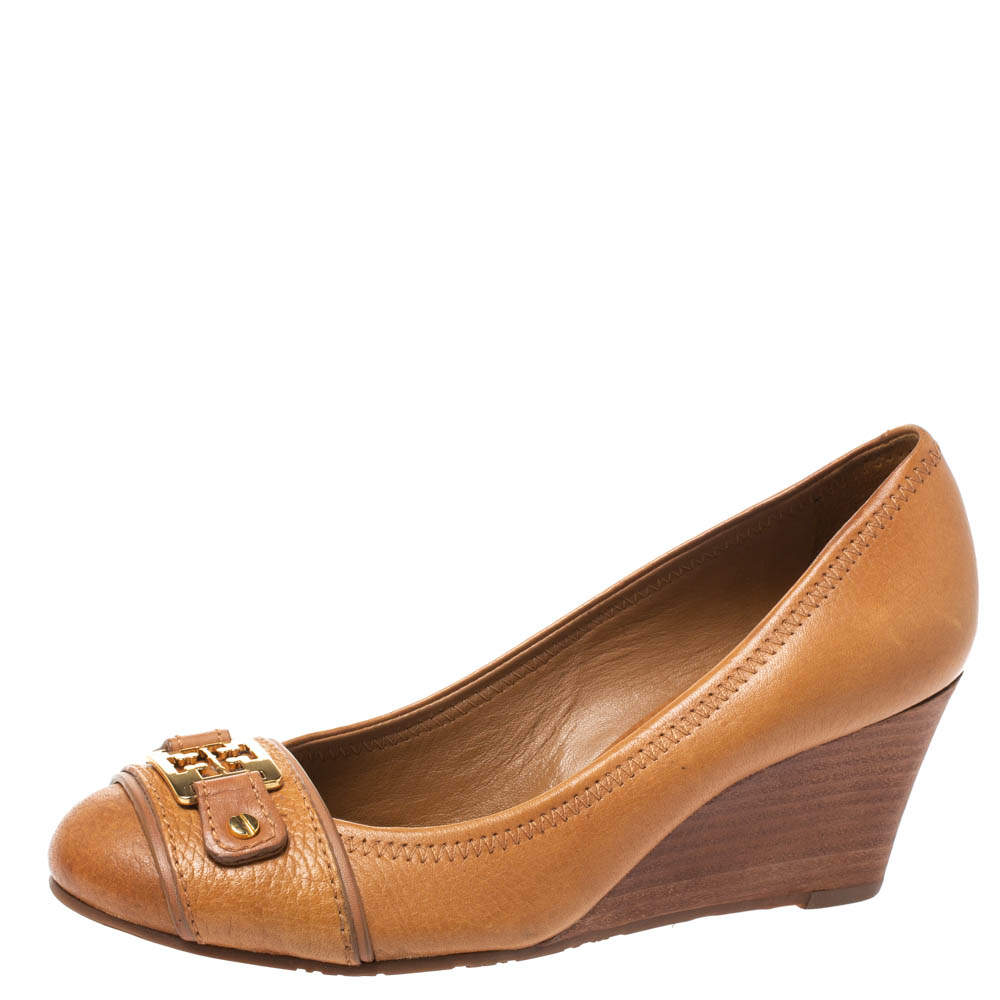 Tory Burch Brown Leather 'Ambrose' Wedge Pumps Size 36