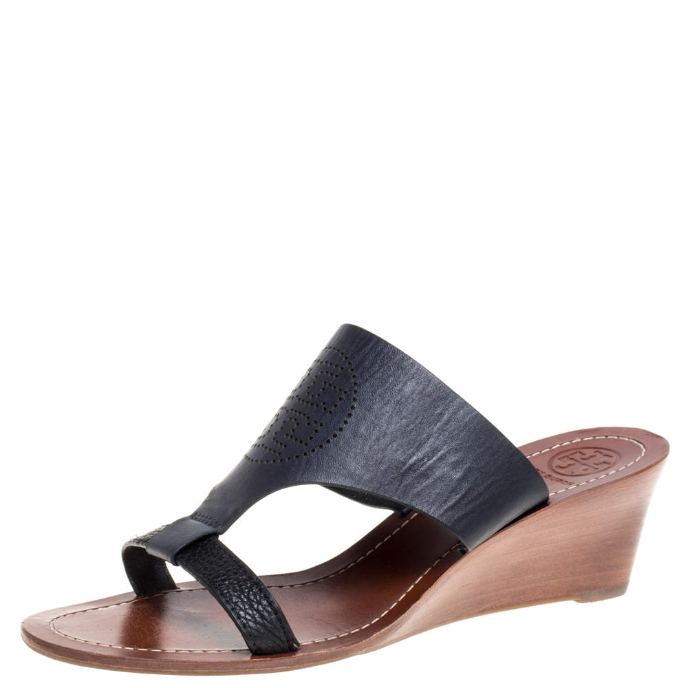 Tory Burch Navy Blue Perforated Logo Leatther Wedge Sandals Size 37