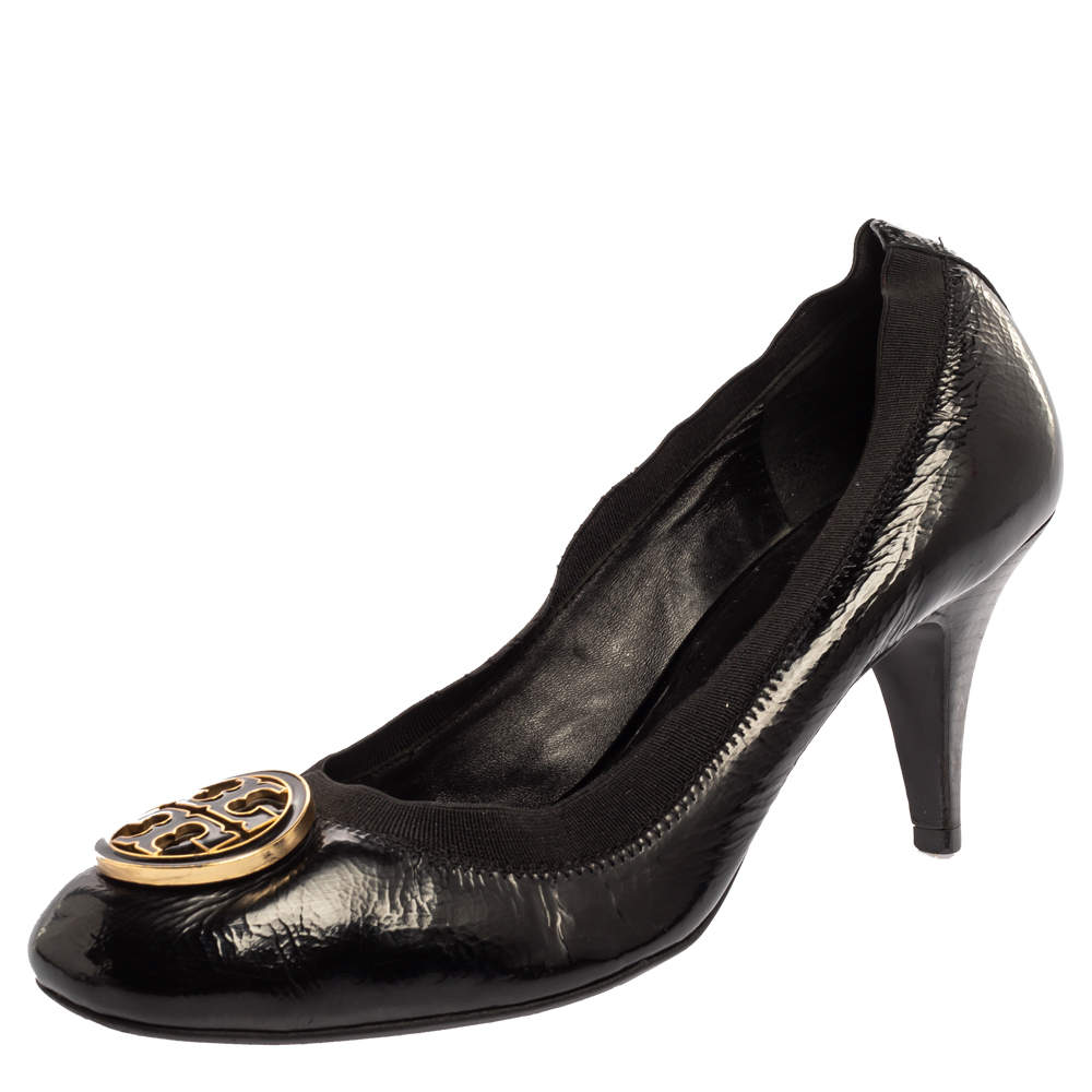 Tory Burch Black Leather Round Toe Pumps Size 40