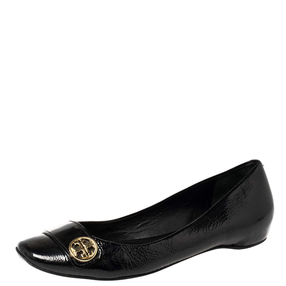 Tory Burch Black Patent Leather Andi Ballet Flats Size 39