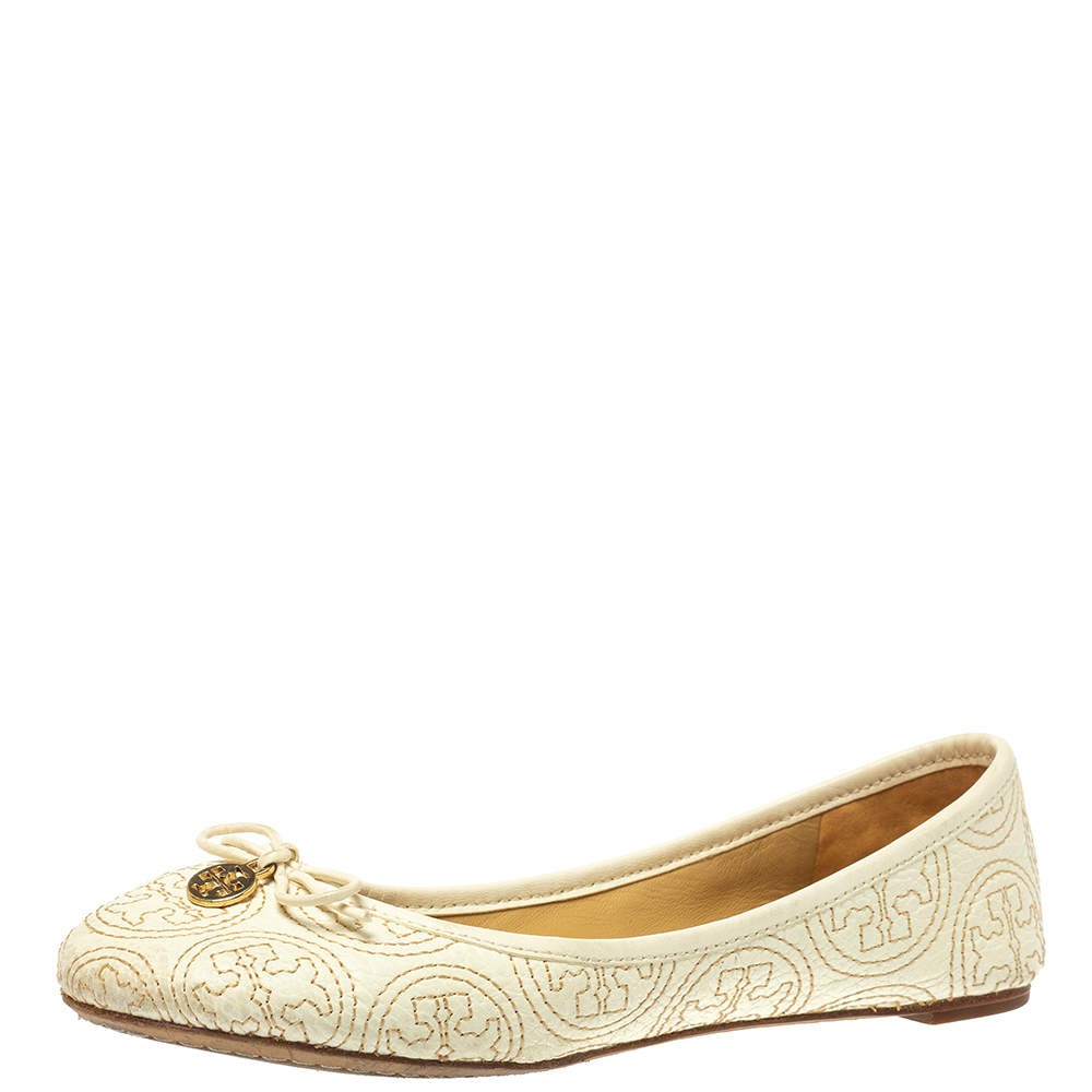 Tory Burch White Leather Chelsea Stitched Ballet Flats Size 36