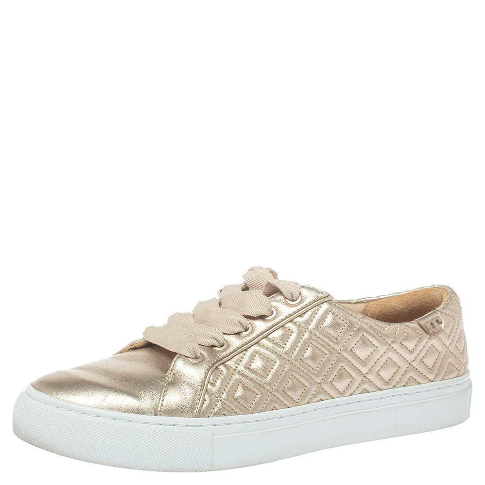 Tory Burch Light Gold Quilted Leather Marion Sneakers Size 38