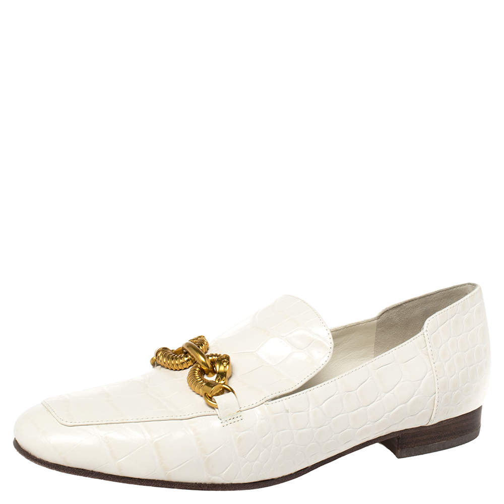 Tory Burch White Croc Embossed Leather Jessa Loafers Size 38