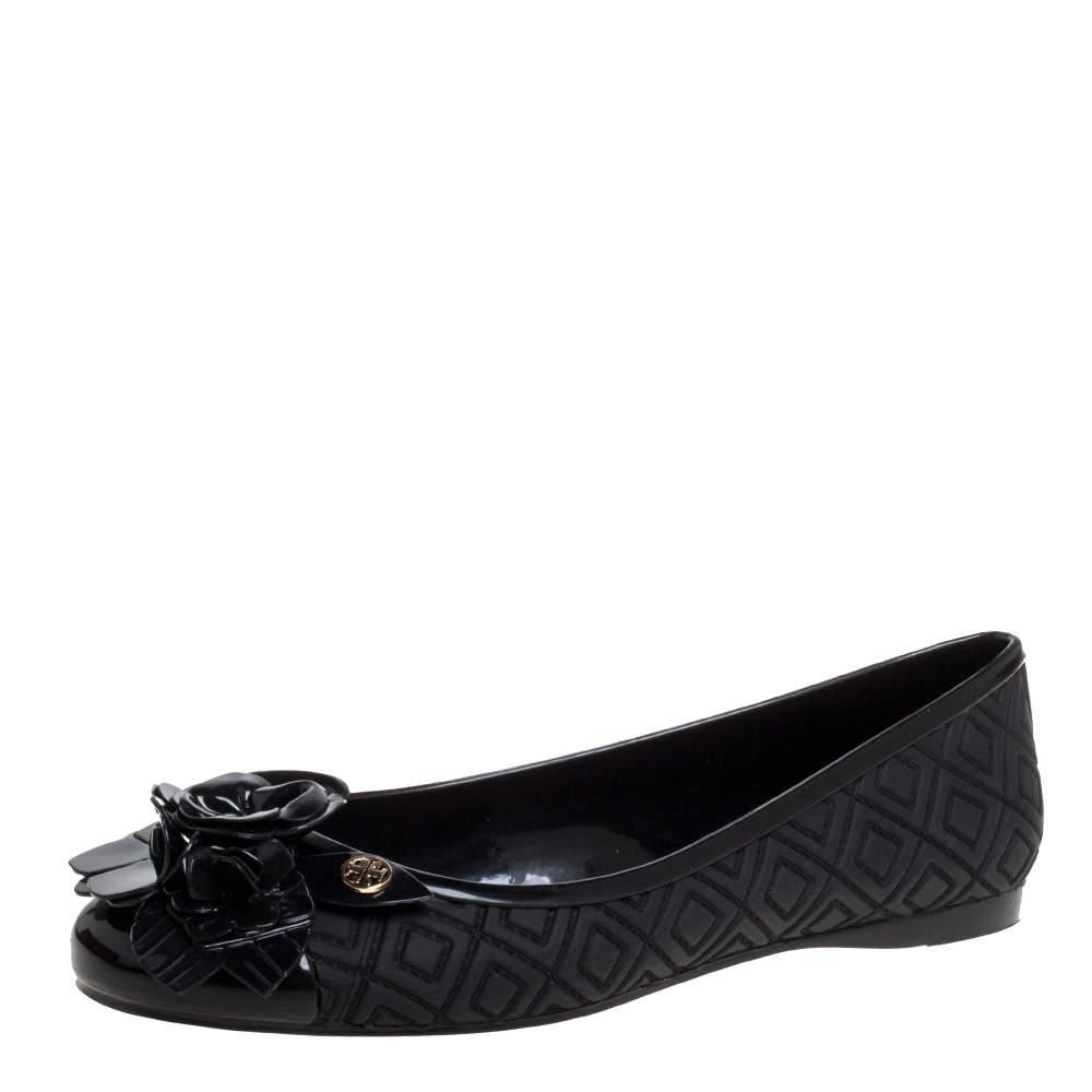 Tory Burch Black Jelly Blossom Ballet Flat Size 37