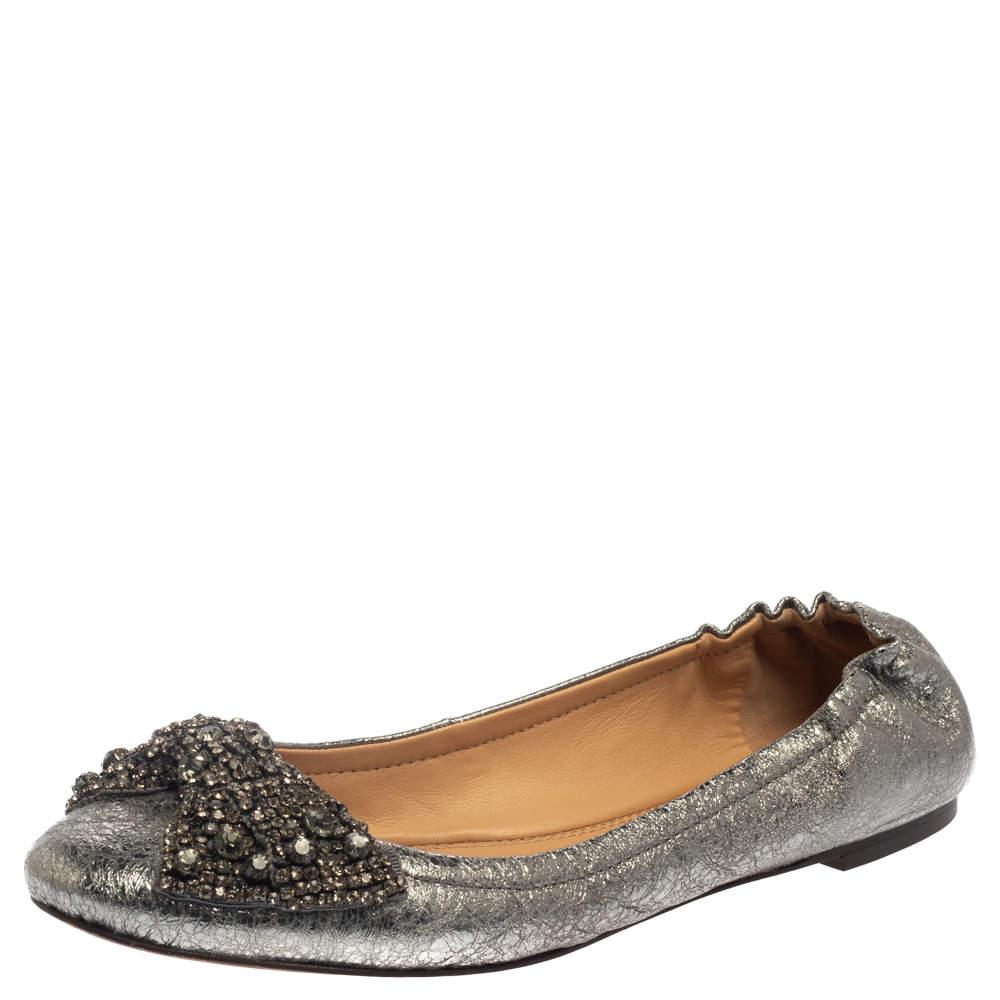 Tory Burch Silver Leather Azalea Bow Ballet Flats Size 39