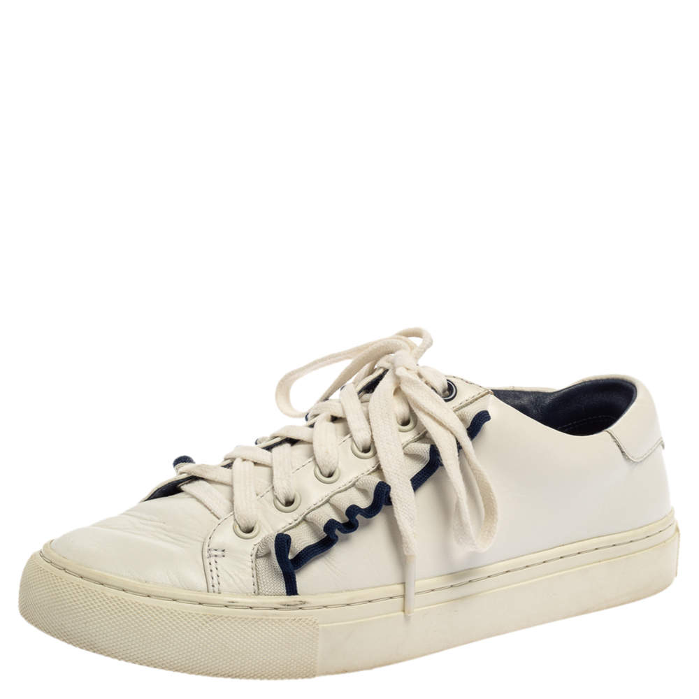 Tory Burch White Leather Ruffle Low Top Sneakers Size 36.5