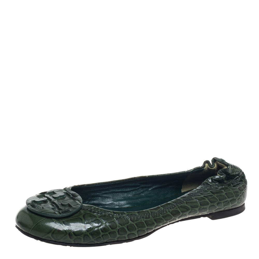 Tory Burch  Green Croc Embossed Leather  Ballet Flats Size 38