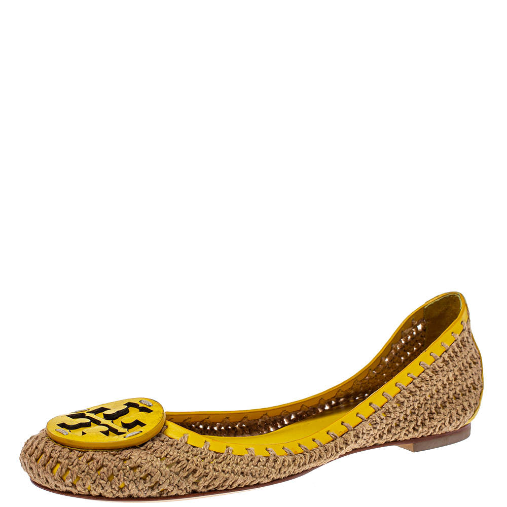 Tory Burch Brown/Yellow Crochet And Leather Ballet Flats Size 37.5