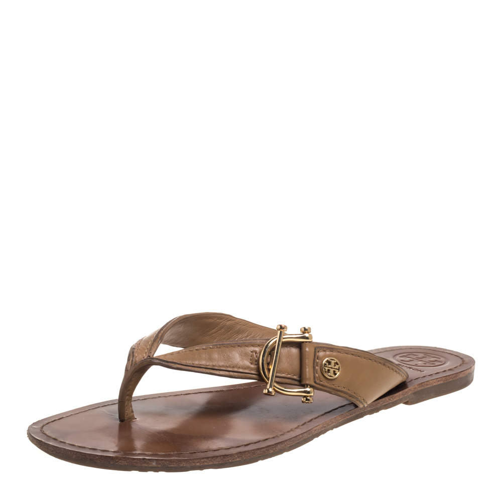 Tory Burch Beige Leather Thong Flats Size 39