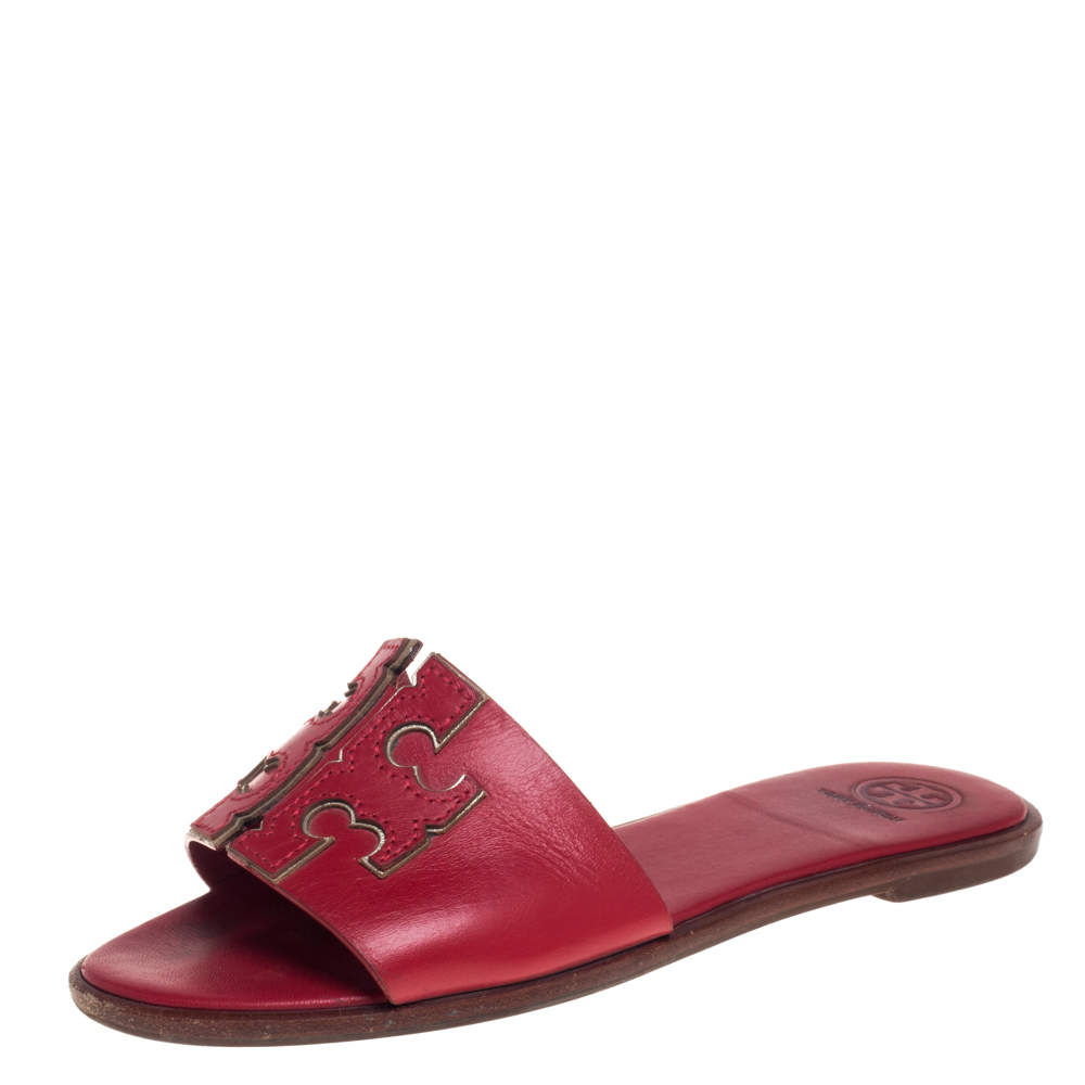 Tory Burch Red Leather Ines Slide Sandals Size 36.5