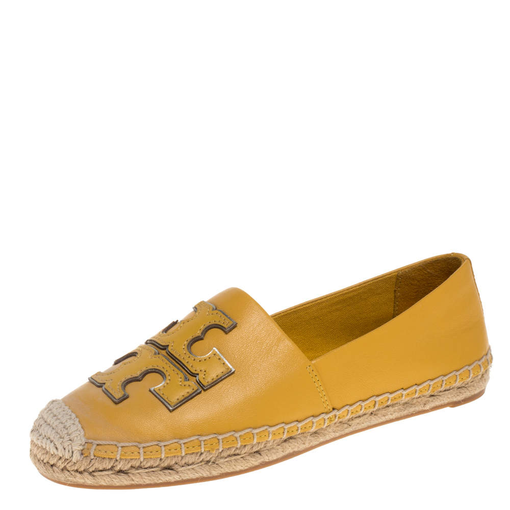 Tory Burch Yellow Leather Ines Espadrilles Size 35.5