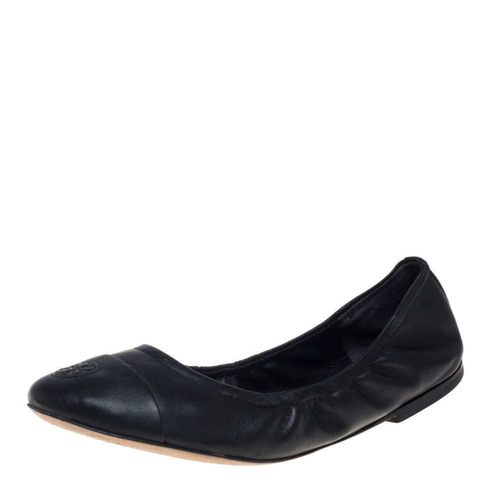 Tory Burch Black Leather Cap Toe Scrunch Ballet Flats Size 37.5