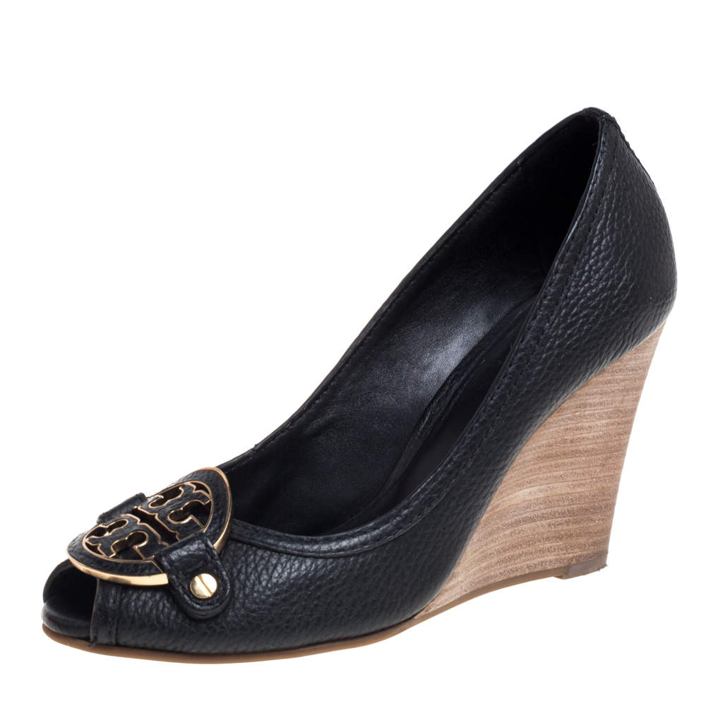 Tory Burch Black Leather Peep Toe Wedge Pumps Size 36.5