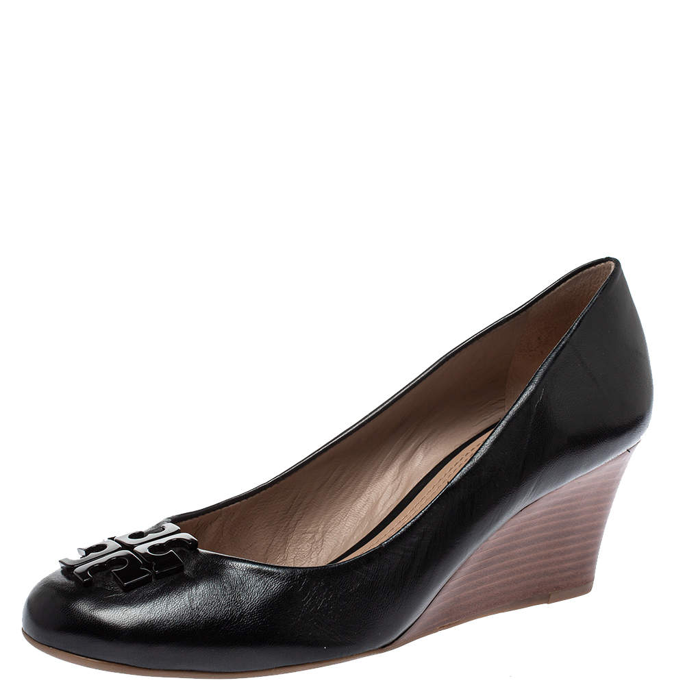 Tory Burch Black Leather Lowell Wedge Pumps Size 40