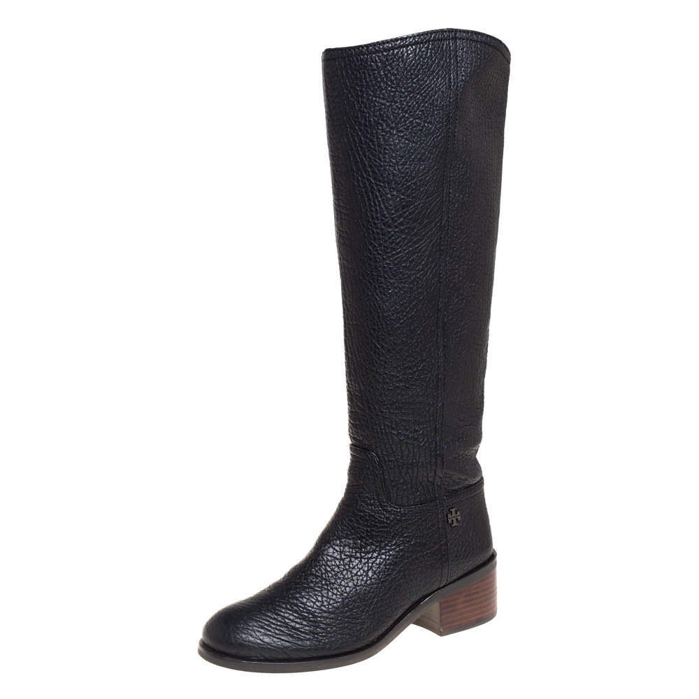Tory Burch Black Leather Fulton Knee Length Boots Size 40