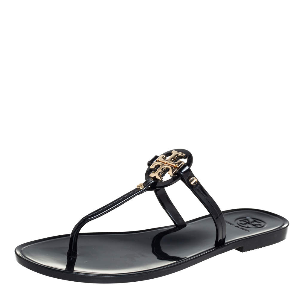 Tory Burch Black Patent Leather Miller Thong Flat Sandals Size 37