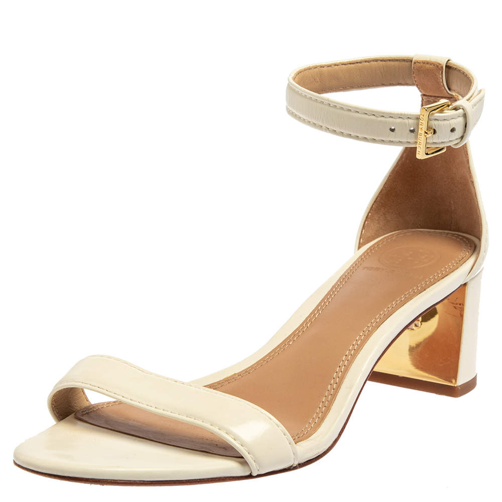 Tory Burch Off White Leather Ankle Strap Sandals Size 38