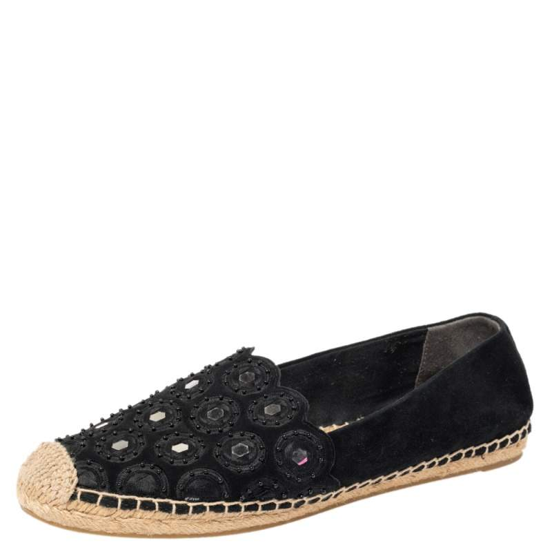 Tory Burch Black Suede Yasmin Espadrille Flats Size 39