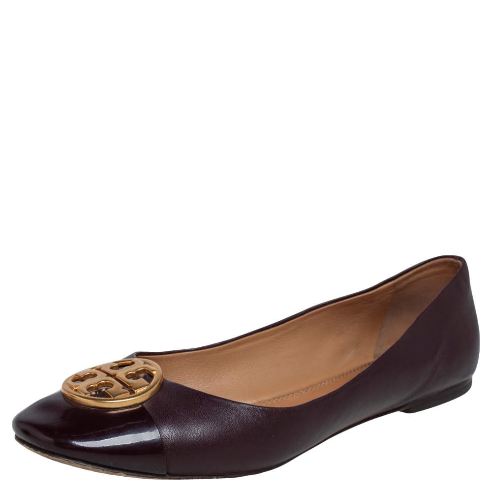 Tory Burch Purple Leather and Patent Leather Cap Toe Ballet Flats Size 37.5