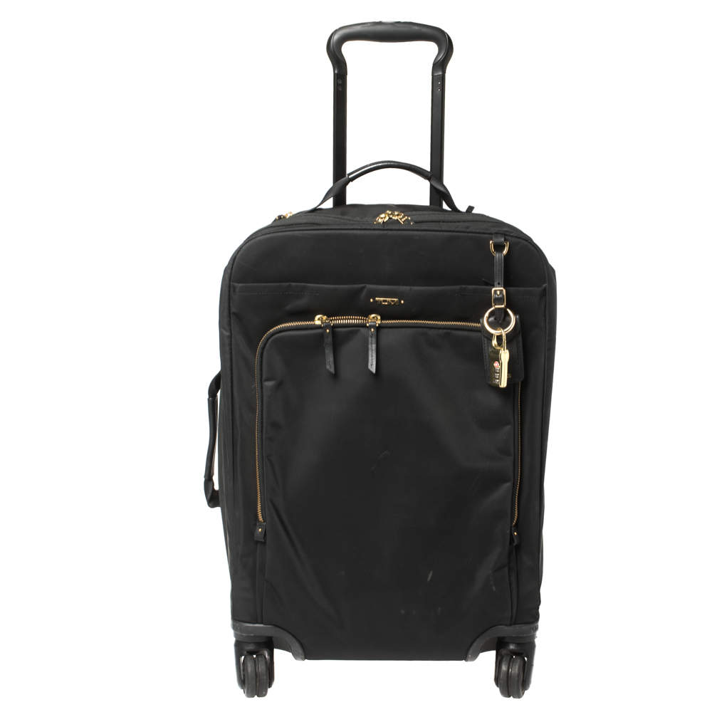 TUMI Black Nylon Zip Pocket Trolley Suitcase