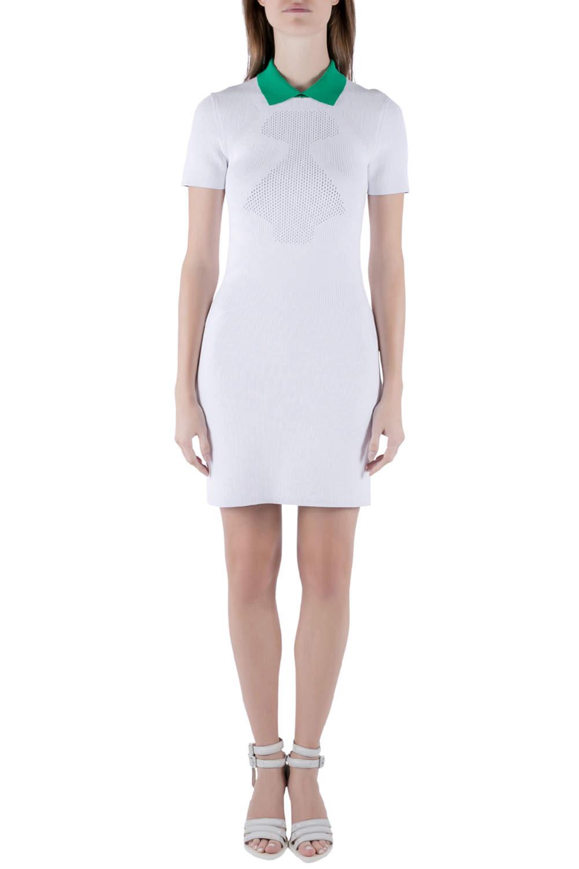 Alexander Wang Chalk White Optical Mesh Knit Polo Dress M