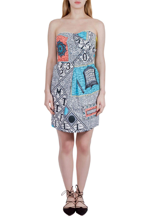 Matthew Williamson Multicolor Abstract Print Cotton Strapless Dress M