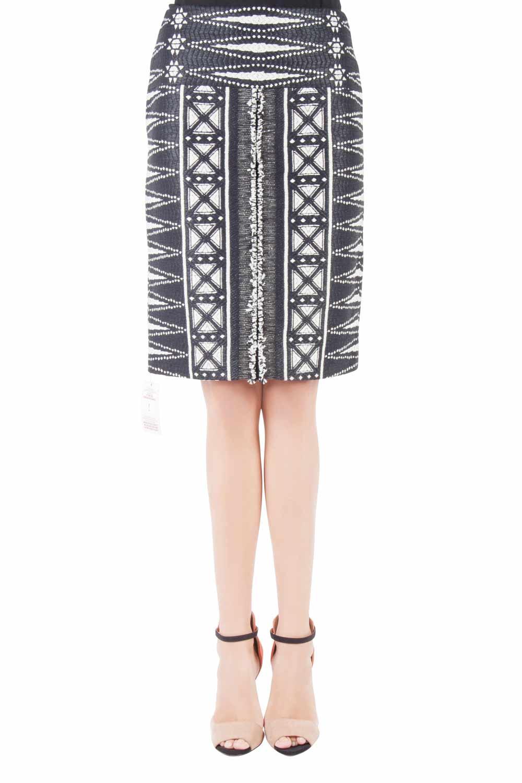 Tory Burch Monochrome Patterned Tweed Savora Pencil Skirt S