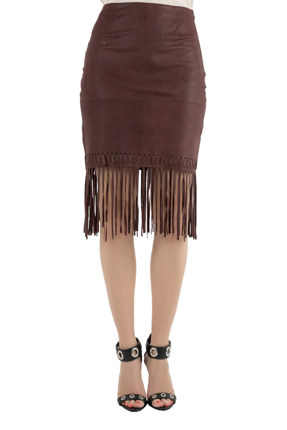 Elizabeth and James Brown Goat Leather Fringed Hem Jaxson Skirt S
