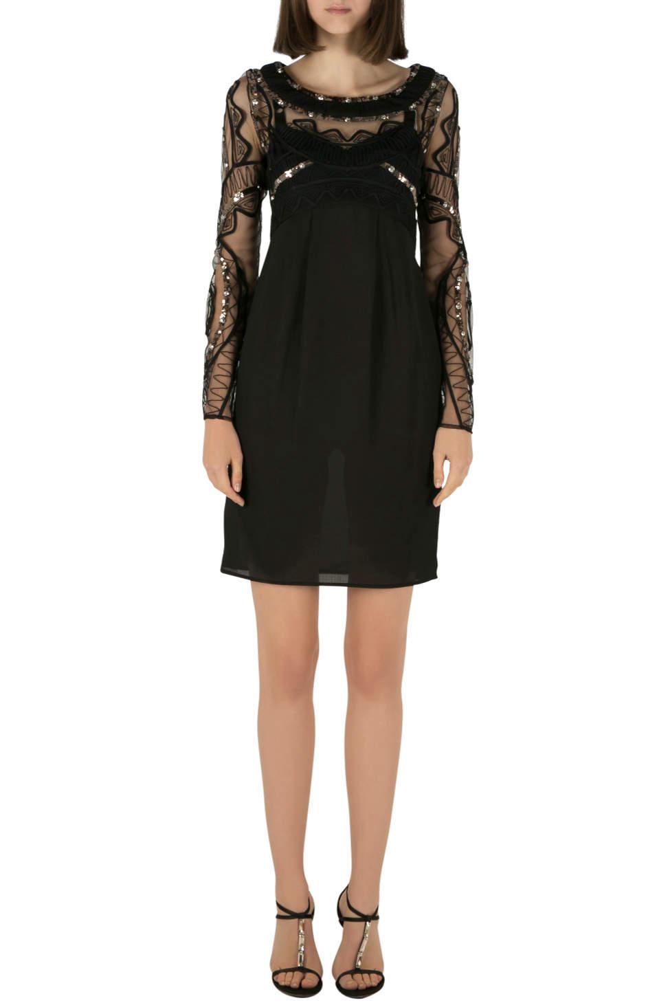 فستان آليس باي تيمبيرلي صدرية دانتيل شفاف مستقيمة أسود S