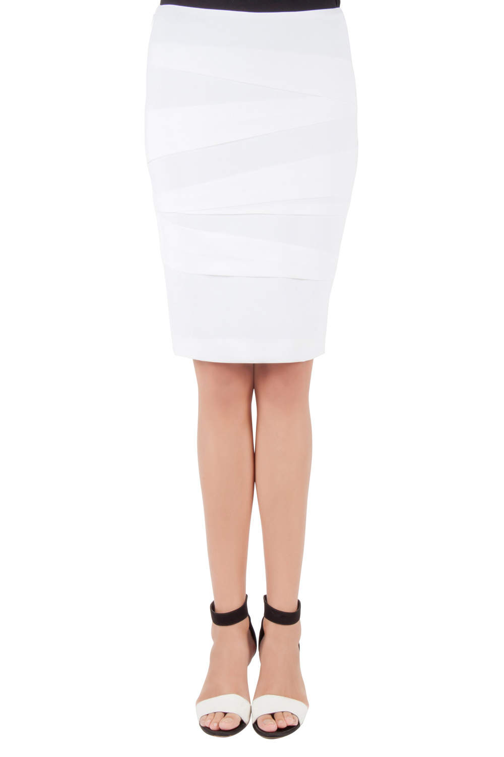 Versace Off White Crepe Stretch Asymmetric Panel Tiered Pencil Skirt M