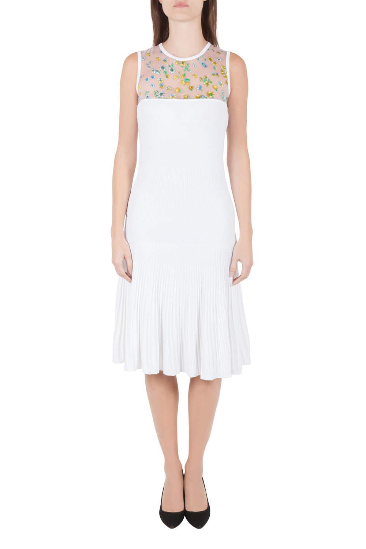 Versace White Stretch Crepe Floral Printed Sheer Yoke Sleeveless Dress S