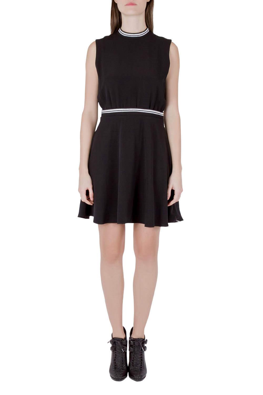 Victoria Victoria Beckham Black Crepe Ribbed Trim Sleeveless Mini Dress M