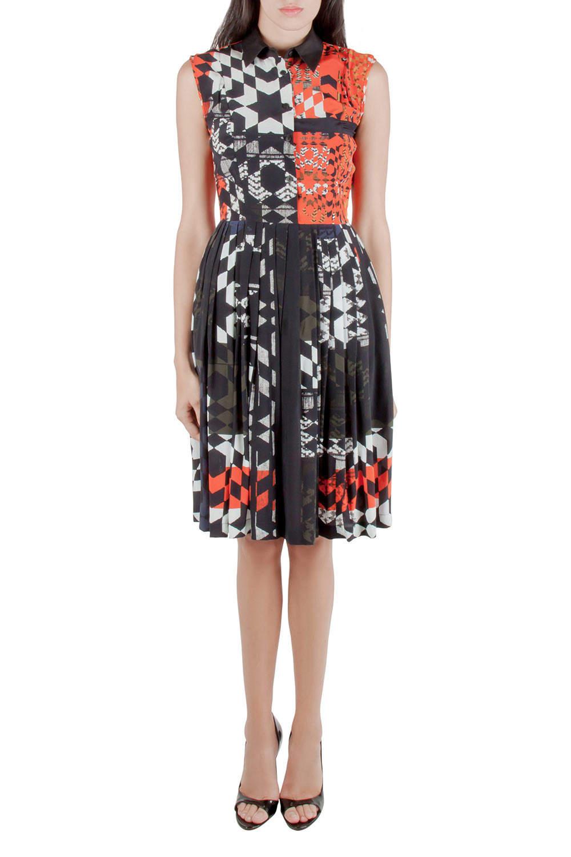 Preen by Thornton Bregazzi Multicolor Starbox Print Silk Sleeveless Midi Shirt Dress XS