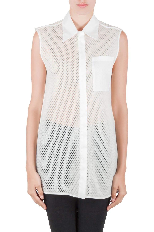 Acne Studios White Perforated Mesh Sleeveless Adelia Shirt M