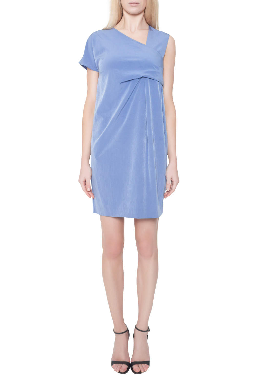 Carven Cornflower Blue Crepe Ruched Asymmetric Sleeve Shift Dress M
